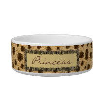 Cheetah Pattern Animal Print Personalized Pet Bowl