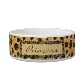 Cheetah Pattern Animal Print Personalized Pet Bowl