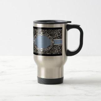 Cheetah Pattern Blue Label Travel Mug