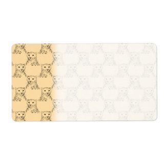 Cheetah Pattern on Beige. Label