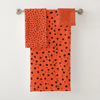Cheetah Pattern on Papaya Bath Towel Set