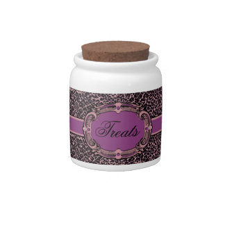 Cheetah Pattern Pink Purple Label Candy Jar