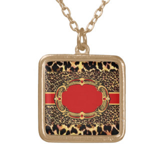 Cheetah Pattern Red Label Square Pendant Necklace
