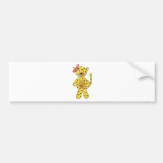 Cheetah Pink Bow Bumper Sticker