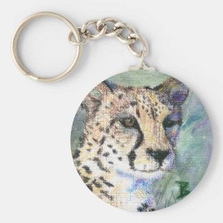 Cheetah Portrait aceo Keychain