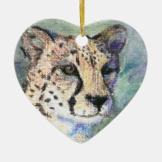 Cheetah Portrait aceo Ornament