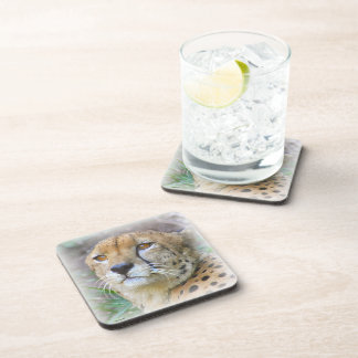 Cheetah portrait beverage coaster
