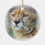 Cheetah portrait Double-Sided ceramic round christmas ornament