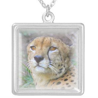 Cheetah portrait silver plated necklace