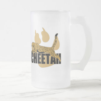 Cheetah Power Frosted Glass Beer Mug