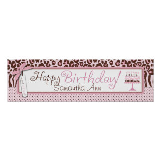Cheetah Print and Cake Birthday Banner
