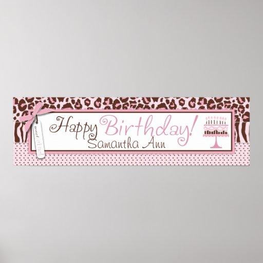 Cheetah Print and Cake Birthday Banner