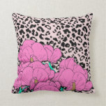 Cheetah Print and Flowers Pillow