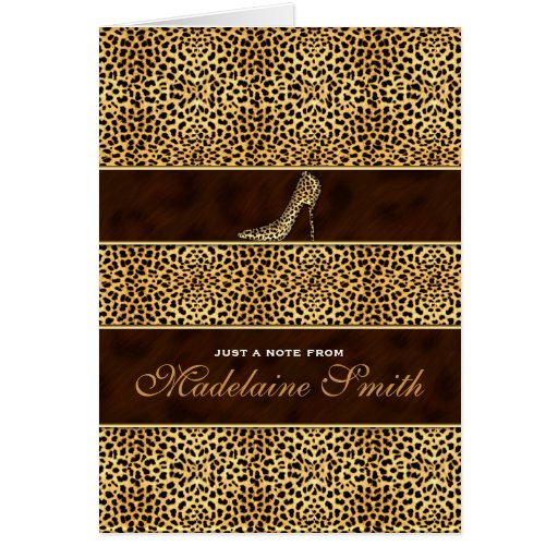 Cheetah Print and Stiletto Deluxe Note Card