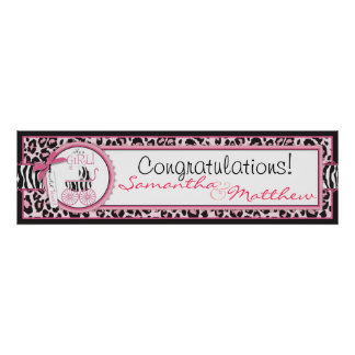 Cheetah Print & Baby Carriage Baby Shower Banner