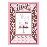 Cheetah Print & Birthday Cake Custom Invitation