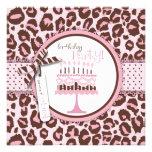 Cheetah Print & Birthday Cake Custom Invites