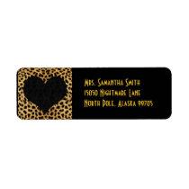 Cheetah Print Black Heart - Custom Address Label