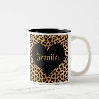 Cheetah Print Black Heart - Custom Name Two-Tone Coffee Mug