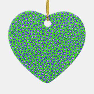 Cheetah print blue on green ceramic ornament