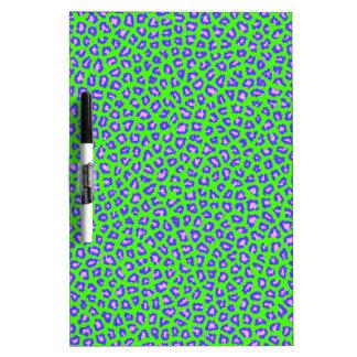 Cheetah print blue on green Dry-Erase whiteboard