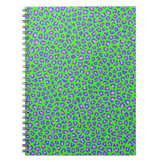 Cheetah print blue on green journals