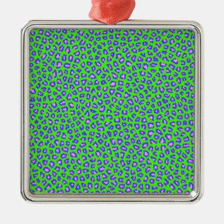 Cheetah print blue on green metal ornament