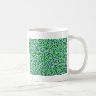 Cheetah print blue on green mug