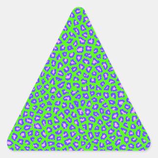 Cheetah print blue on green triangle sticker