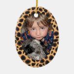 Cheetah Print Border Frame Christmas Ornament