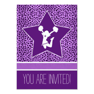 Cheetah Print Cheer/Pom Vibrant Purple with Star Card