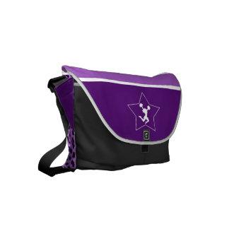 Cheetah Print Cheer/Pom Vibrant Purple with Star Small Messenger Bag