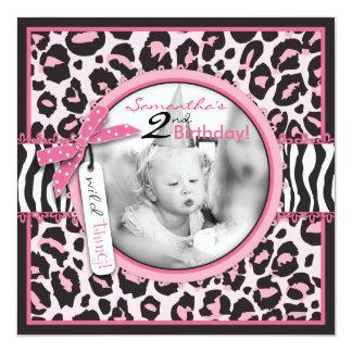 Cheetah Print & Cupcake Photo Template Birthday 5.25x5.25 Square Paper Invitation Card