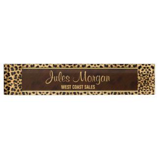 Cheetah Print Custom Desk Name Plate