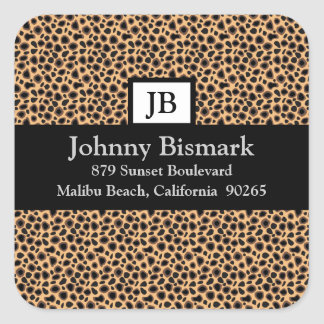 Cheetah Print Customizable Monogram Square Sticker