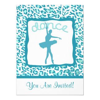 Cheetah Print Dance in Turquoise Invitation