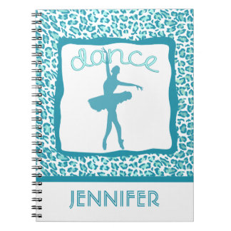Cheetah Print Dance in Turquoise Notebook