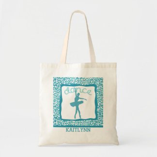 Cheetah Print Dance in Turquoise Tote Bags