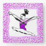Cheetah Print Gymnastics in Purple Clock