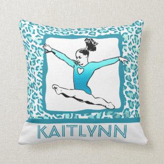 Cheetah Print Gymnastics in Turquoise Throw Pillow