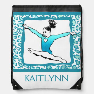 Cheetah Print Gymnastics in Turquoise w/ Monogram Cinch Bags