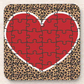 Cheetah Print Heart Puzzle Pieces Beverage Coasters