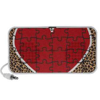Cheetah Print Heart Puzzle Pieces Mini Speakers