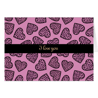 "Cheetah print hearts ""I love you"" Greeting Card"