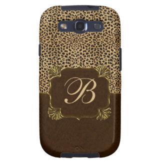 Cheetah Print & Mahogany Monogram Galaxy S3 Covers