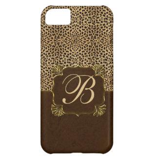 Cheetah Print & Mahogany Monogram Case For iPhone 5C