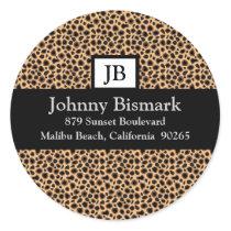 Cheetah Print Monogram Sticker