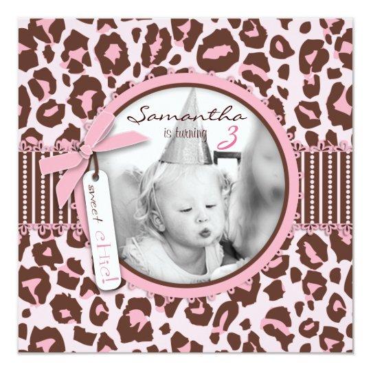 Cheetah Print Photo Template Birthday Card