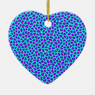 Cheetah Print Purple on Blue Ceramic Ornament