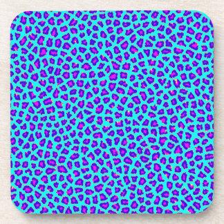 Cheetah Print Purple on Blue Beverage Coaster